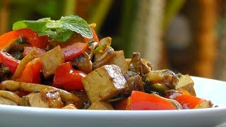 Vegan Vegetarian Thai Recipe: Tofu with Mushrooms and Mint