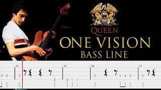 Queen - One Vision (Bass Line Tabs) By John Deacon