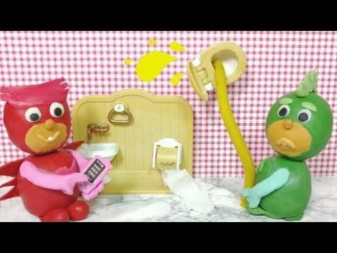 PJ Masks Disney Junior Play-Doh Pee Splash Toilet Training Episode Compilation