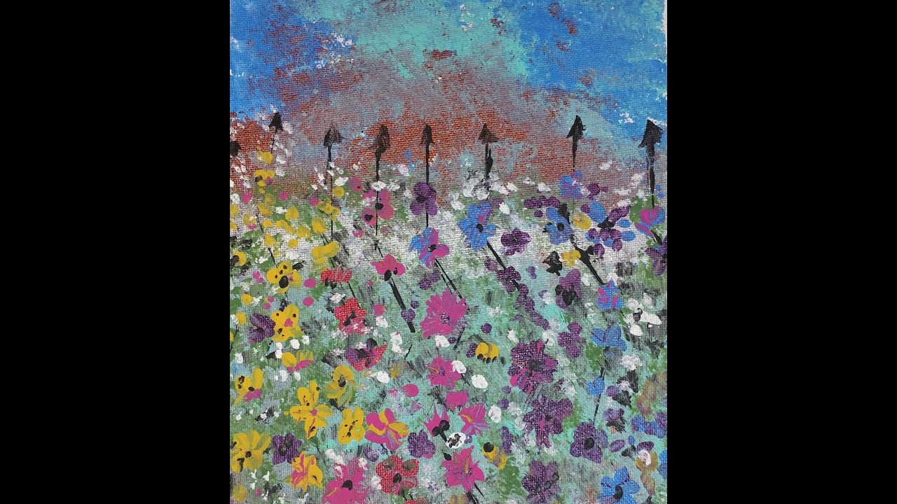 How To Paint Easy Abstract Mountain Wild Flowers Canvas #54