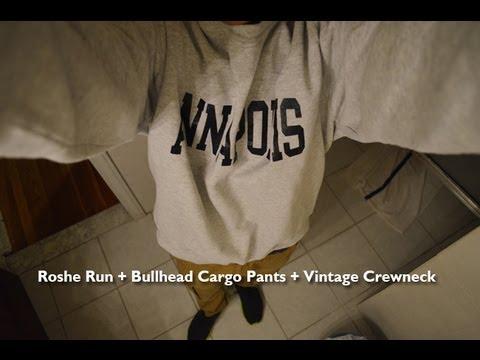nike-roshe-run-+-bullhead-cargo-pants-+-vintage-crewneck