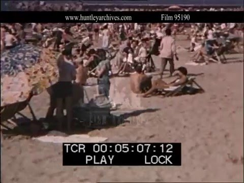 Durban Beach during Apartheid, South Africa.  Archive film 95190