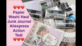 Papier und Washi Haul für Junk Journal von Action, Tedi, Aliexpress Haul Scrapbook basteln Papier
