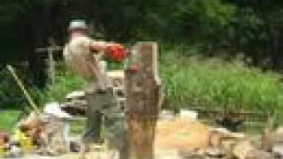 chainsaw carving an Easter Island Moai #1, tiki head, chainsaw