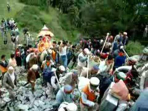 local god from banjar, kullu at a procession