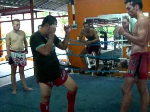 Jaruad demonstrates Muay Thai techniques