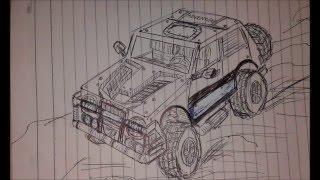 Cara Menggambar Mobil Sport Balap Off Road - How To Draw A Car / Custom Wheel Creation 2016