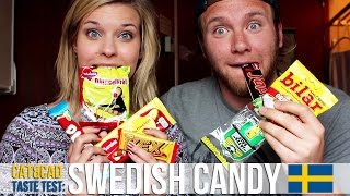 FINNISH girl & BRITISH guy try SWEDISH candy! [Taste Test]