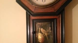 Early 1900's Meiji Clock Co. Honey Walnut Schoolhouse Regulator Wall Clock