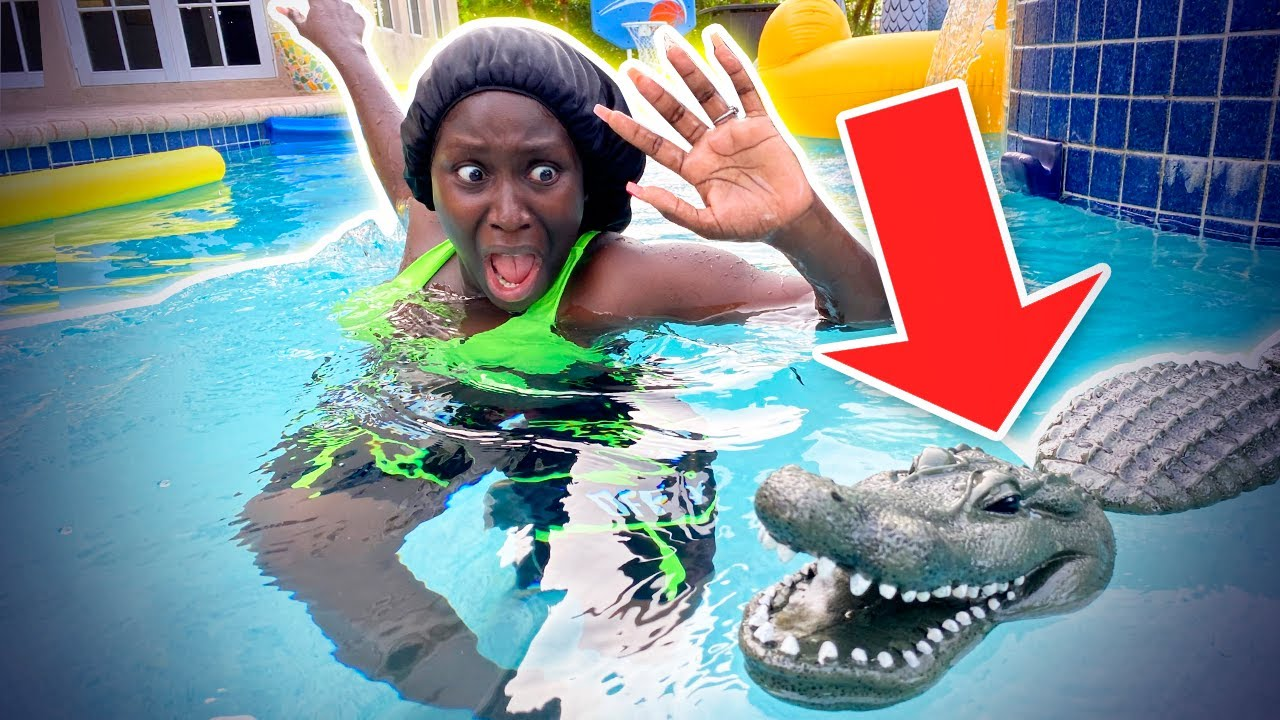 ALLIGATOR In Our Pool Prank on Eva