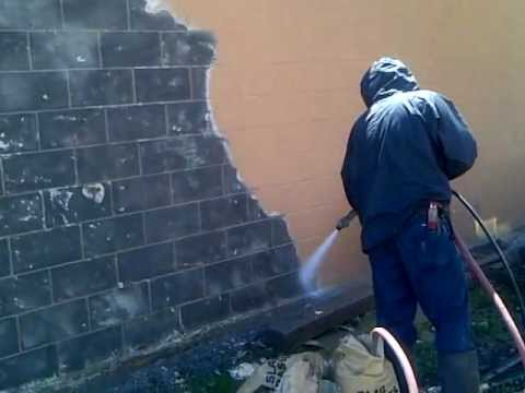 sandblasting brick to remove paint youtube