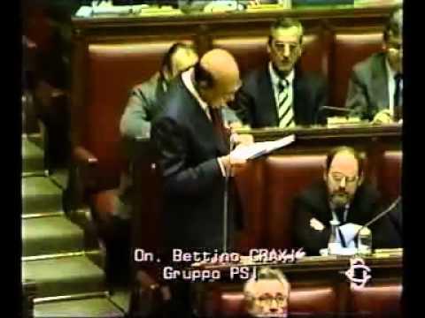 Tangentopoli   Il discorso di Bettino Craxi in Parlamento nel 1992