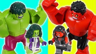 LEGO Red Hulk vs Hulk! Red Hulk She vs Hulk She! Steal diamonds!! - DuDuPopTOY