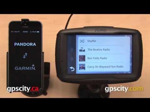Garmin zumo 590LM: Pandora Radio on iPhone 5s with GPS City
