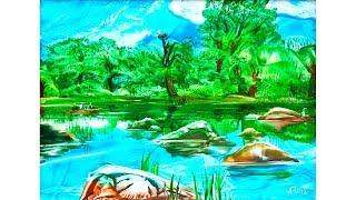 Пейзаж восковыми красками (энкаустика). Урок 69