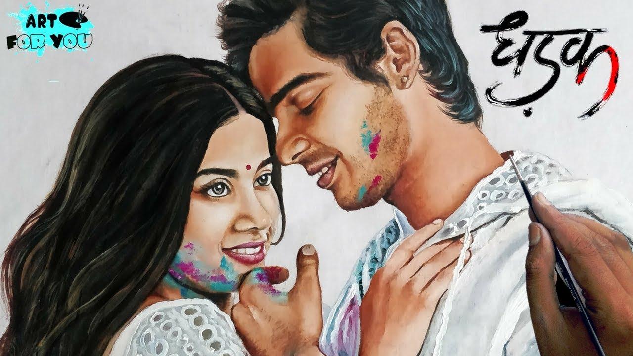 Realistic Painting of DHADAK Stars Janhvi & Ishaan | Dhadak Drawing -  Speed Painting