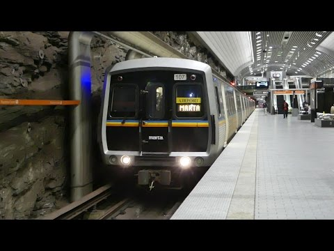 MARTA Transit: 1979/84 FB/Hitachi Gold Line at Peachtree Center Station (Southbound)