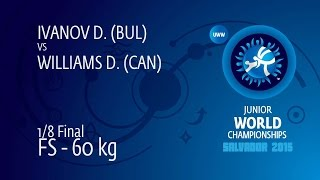 1/8 FS - 60 kg: D. IVANOV (BUL) df. D. WILLIAMS (CAN) by FALL, 12-2