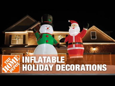 How to set up inflatable holiday decorations youtube for Home depot inflatable christmas decorations