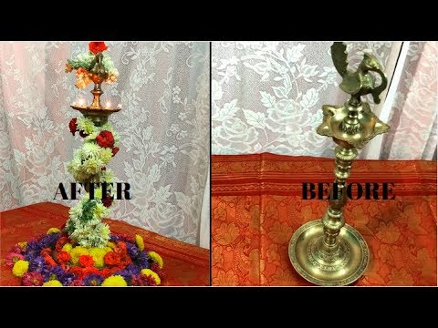 Diya Decoration With Flowers Brass Diya / Welcome Lamp