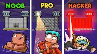 Minecraft - SECURE ISLAND PRISON! (NOOB vs PRO vs HACKER)