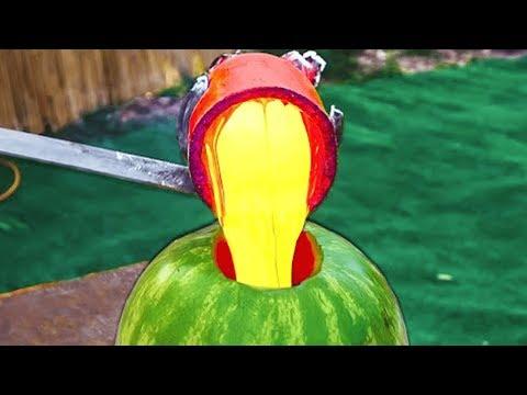 2,805 DEGREE LAVA VS Watermelon!