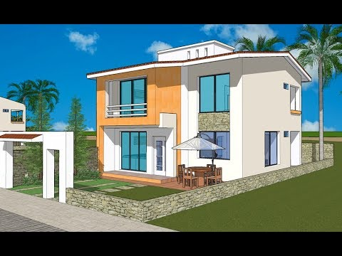 Plano casa 10x20 metros 2 niveles con 3 rec maras for Casa minimalista con planos