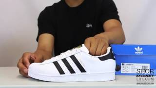 Adidas Superstar 80s White - Black Unboxing Video at Exclucity