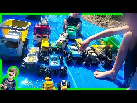 Monster Trucks for Kids on the Slip and Slide!