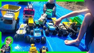 Monster Trucks on the Slip and Slide!