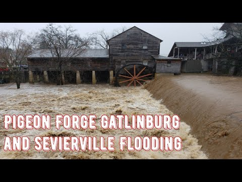 Pigeon Forge Floods Old Mill River's Rise Let's Take A Look Around February 23 2019