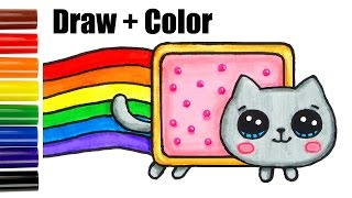 How to Draw + Color Nyan Cat step by step Easy and Cute