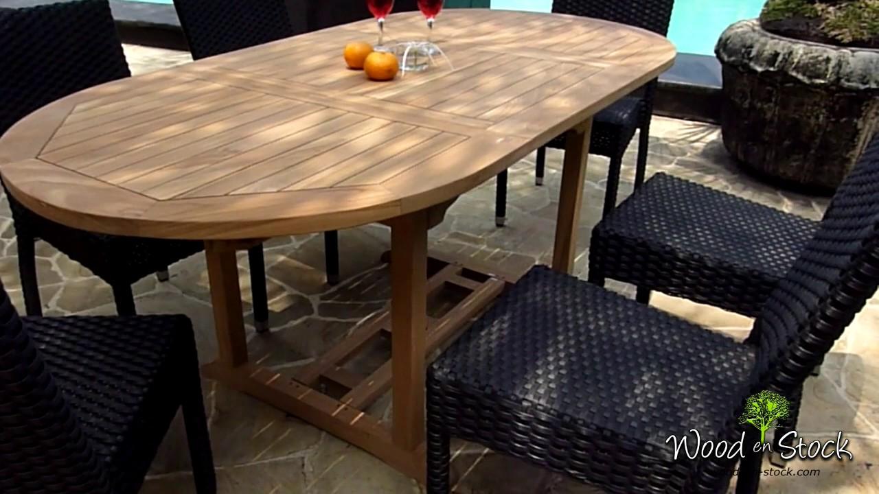 ensemble table en teck et 6 chaise de jardin en resine - YouTube