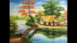 How To Draw Simple Scenery For Kids - Drawing For Beginners - Village Scenery Drawing