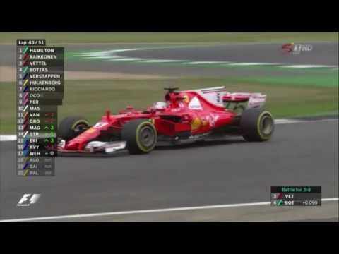 Vettel vs Verstappen + Bottas vs Vettel - 2017 British Grand Prix