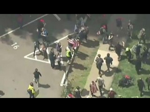 Thumbnail: Pro- and anti-Trump demonstrators clash in California