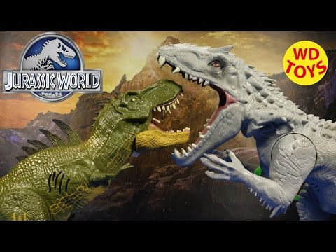 New Jurassic World HYBRID FX TYRANNOSAURUS REX VS INDOMINUS REX UNBOXING Review By WD Toys
