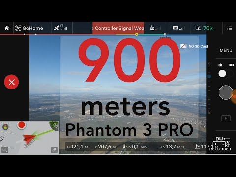 Phantom 3 Pro: 900+ meters. Altitude limitation removed.
