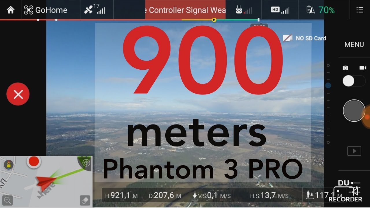 Phantom 3 Pro: 900+ meters  Altitude limitation removed