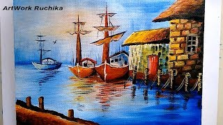 Boats in Harbour Painting   Time Lapse Painting   Seascape Painting   Acrylic Painting