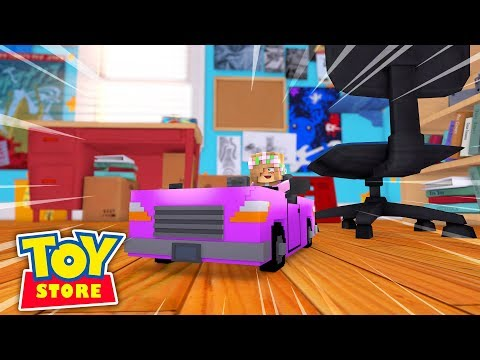 TOY CAR GREAT ESCAPE! Minecraft Toystore w/LittleKelly and TinyTurtle