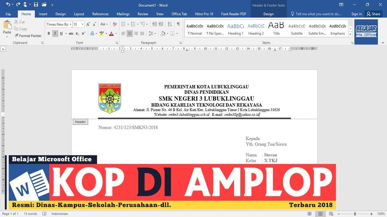 Cara Membuat Kop Pada Amplop Surat Di Microsoft Word