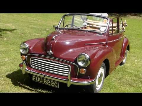 Our 1965 Morris Minor Convertible classic car for weddings in Sussex and Kent