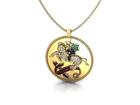 Pingente medalha São Jorge, em ouro 18k. Ref. 11924 - YouTube 4352c7f1f1