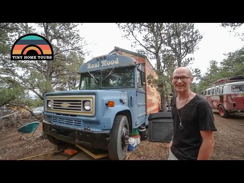 Tiny Cabin Built On A School Bus Chassis - The Real Wood Bus Skoolie