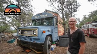 Stunning Tiny House Built On A School Bus - The Real Wood Bus Skoolie