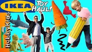 Ikea TOY Shopping! Toothbrush Fighting Family Fun at Giant Store + Toy Haul HobbyKidsTV