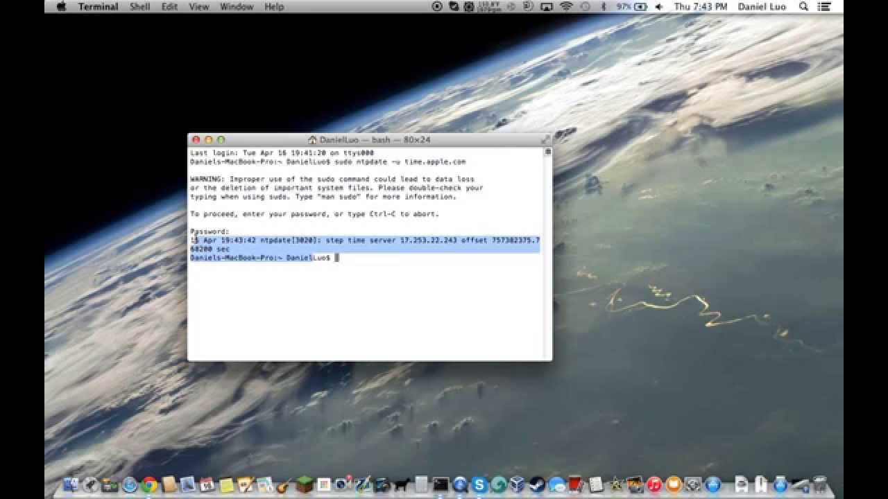 How to set your computer's time & date using Terminal (Mac)