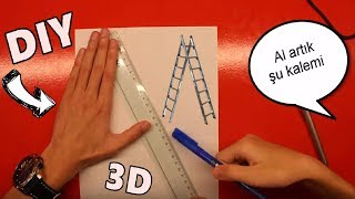 KOLAY 3D MERDİVEN NASIL ÇİZİLİR ? DIY(Kendin Yap)