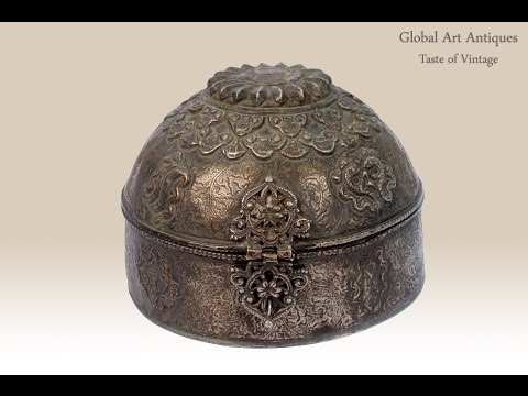Antique Rare Mughal Hand Engraved Beautiful Collectible Jewellery Box.G3-43